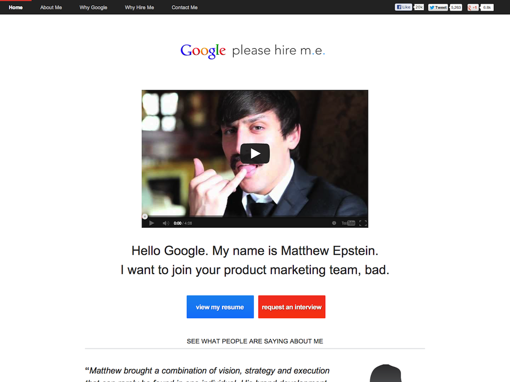 Google, please hire me.
